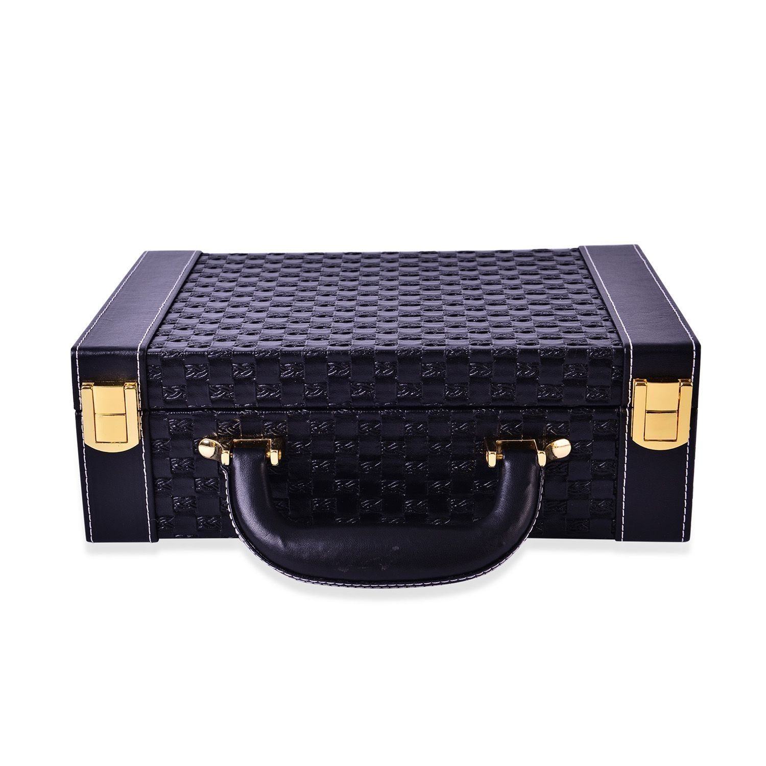 2 tier black woven faux leather briefcase style jewelry for Big box jewelry stores