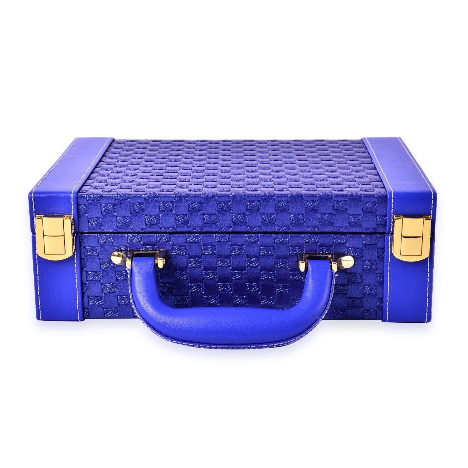 ... 2 Tier Blue Woven Faux Leather Briefcase Style Jewelry Box With Ring  Storage (Approx 72 ...