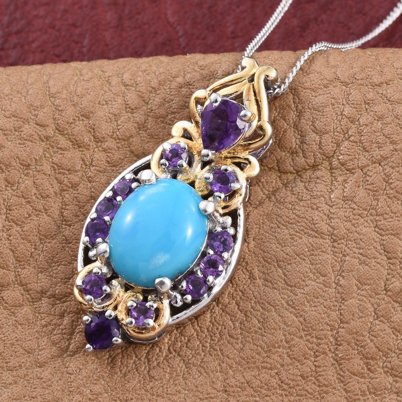 arizona sleeping beauty turquoise amethyst 14k yg and