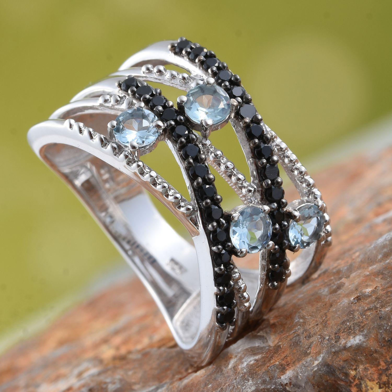 Santa maria aquamarine thai black spinel platinum over for Santa maria jewelry company