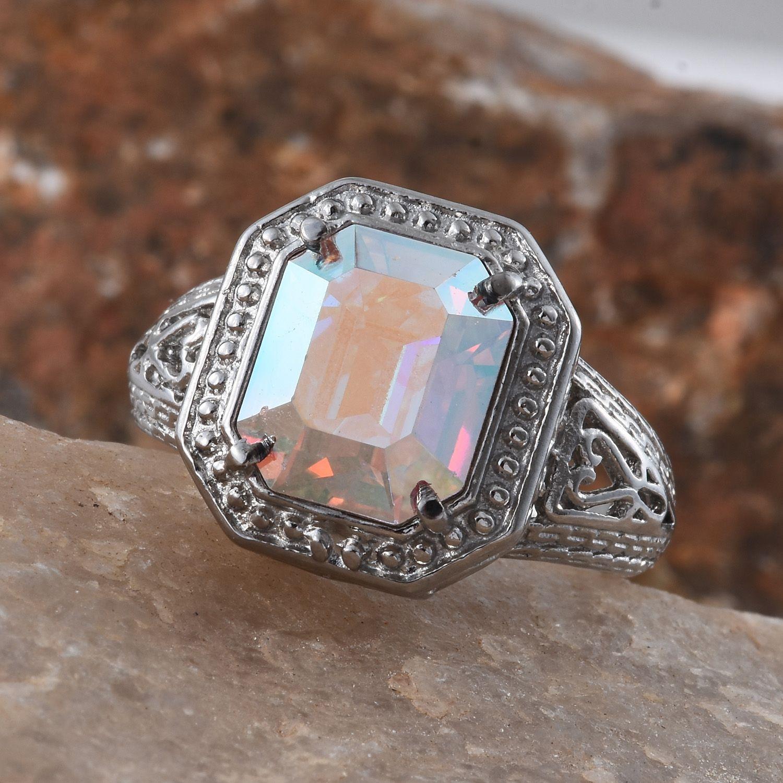 Stainless steel ring size 8 0 made with swarovski aurora for Swarovski jewelry online store
