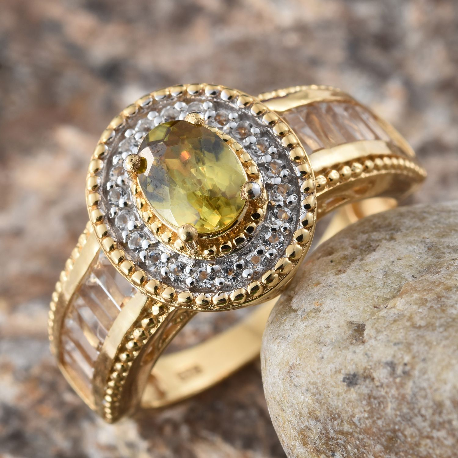 golden gemstone oval and with pin red sphene by cut certified glints green yellow color rings