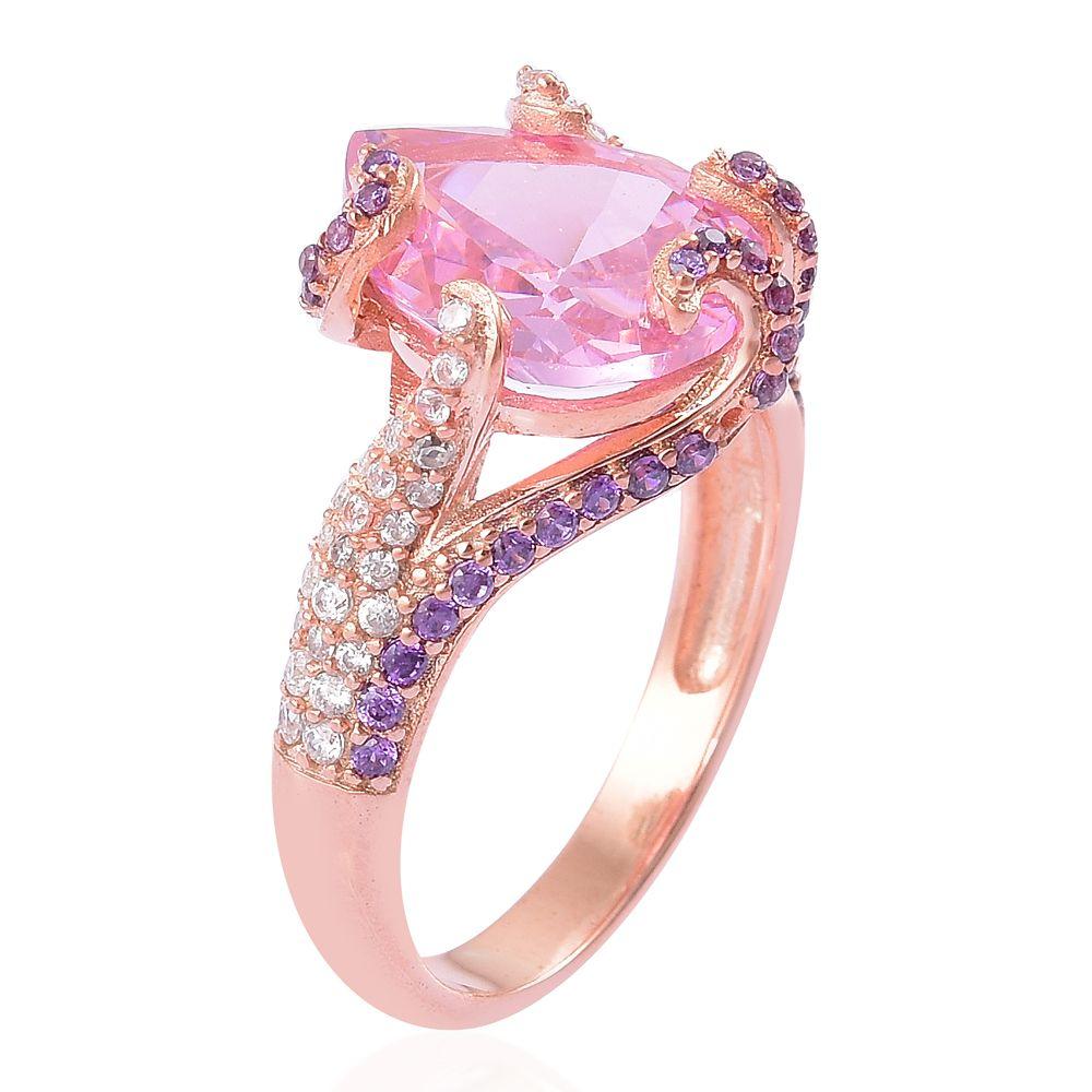 Simulated Pink Diamond, Simulated Purple and White Diamond 14K RG ...