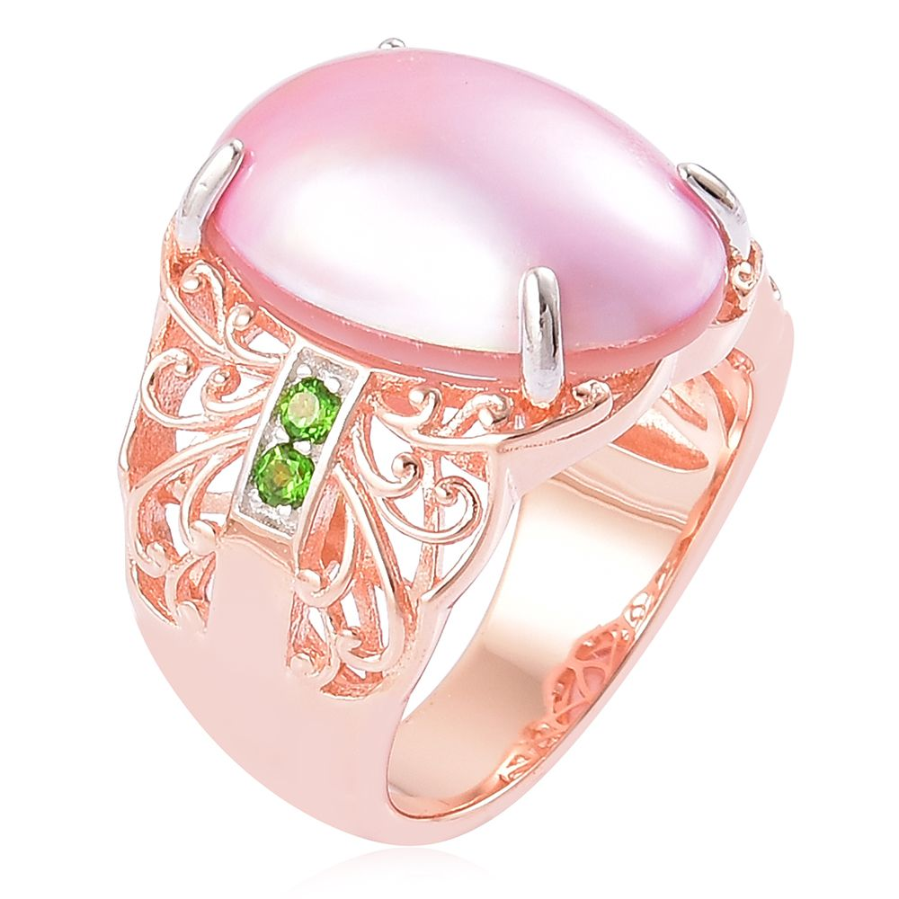 Pearl Expression Mabe Pink Pearl, Russian Diopside 14K RG Over ...