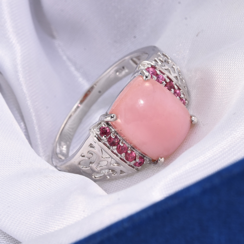 Peruvian Pink Opal, Mahenge Pink Spinel Platinum Over Sterling ...