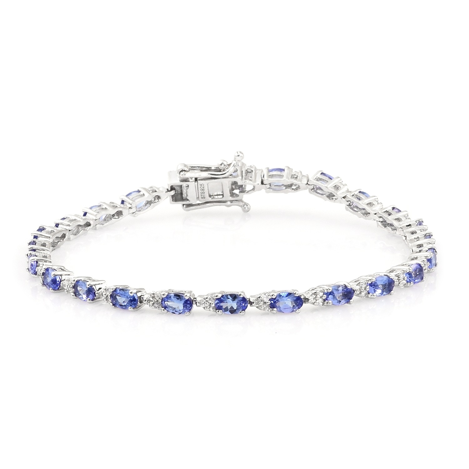 round product tennis bracelet diamond white gold oval tanzanite