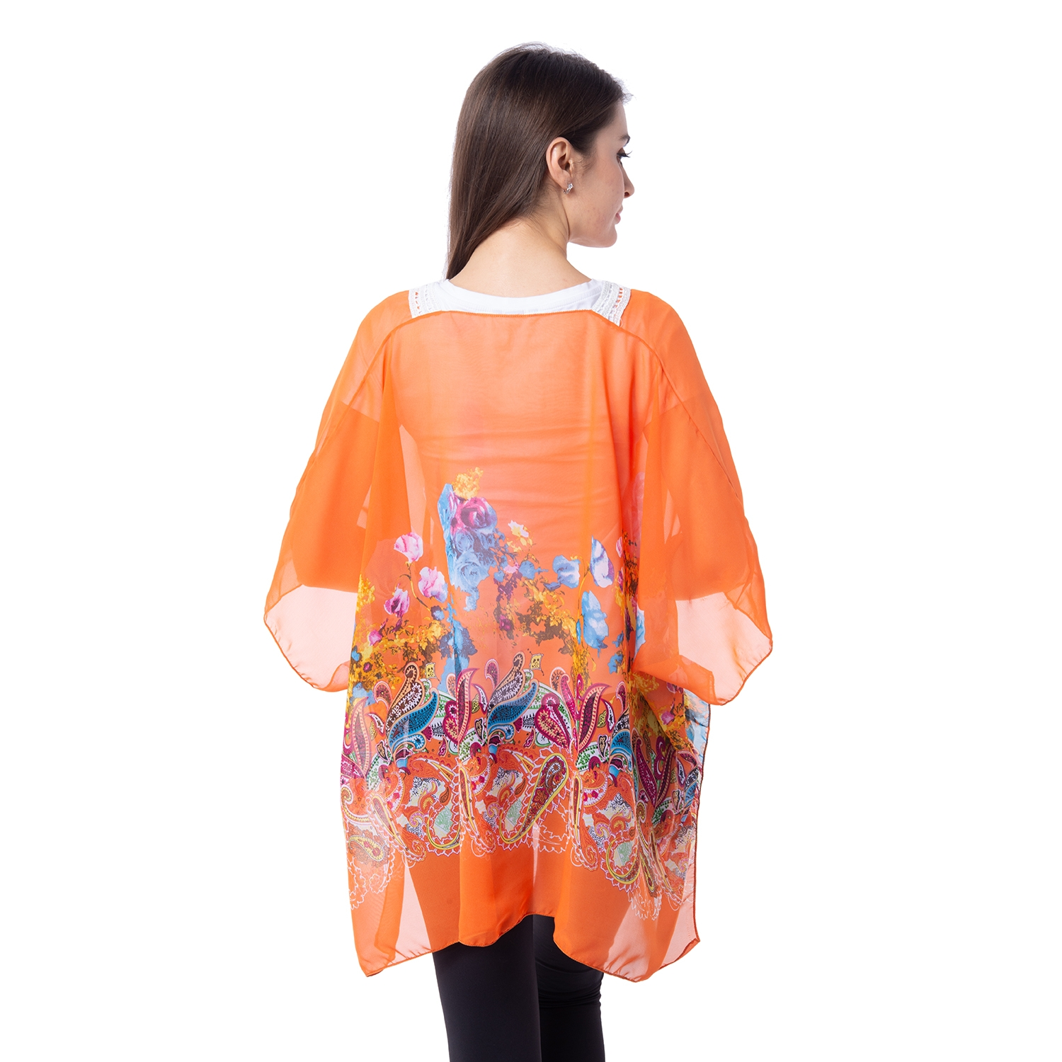 Orange 100 Polyester Floral And Paisley Pattern Sheer Poncho With