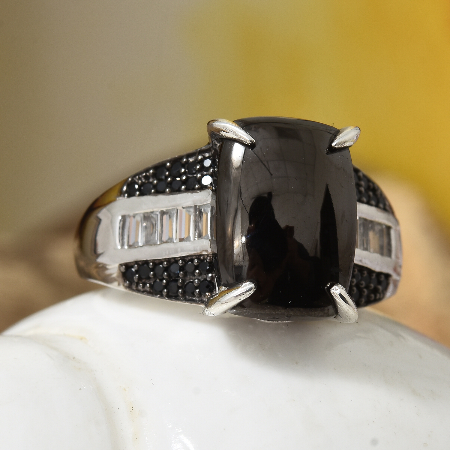 c0aa9b13fb28d Shungite, Multi Gemstone Platinum Over Sterling Silver Ring (Size 7.0) TGW  8.31 cts.