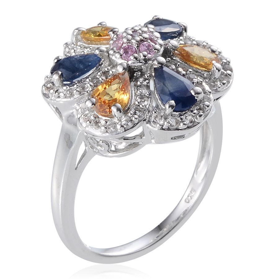 kanchanaburi blue pink and yellow sapphire white topaz