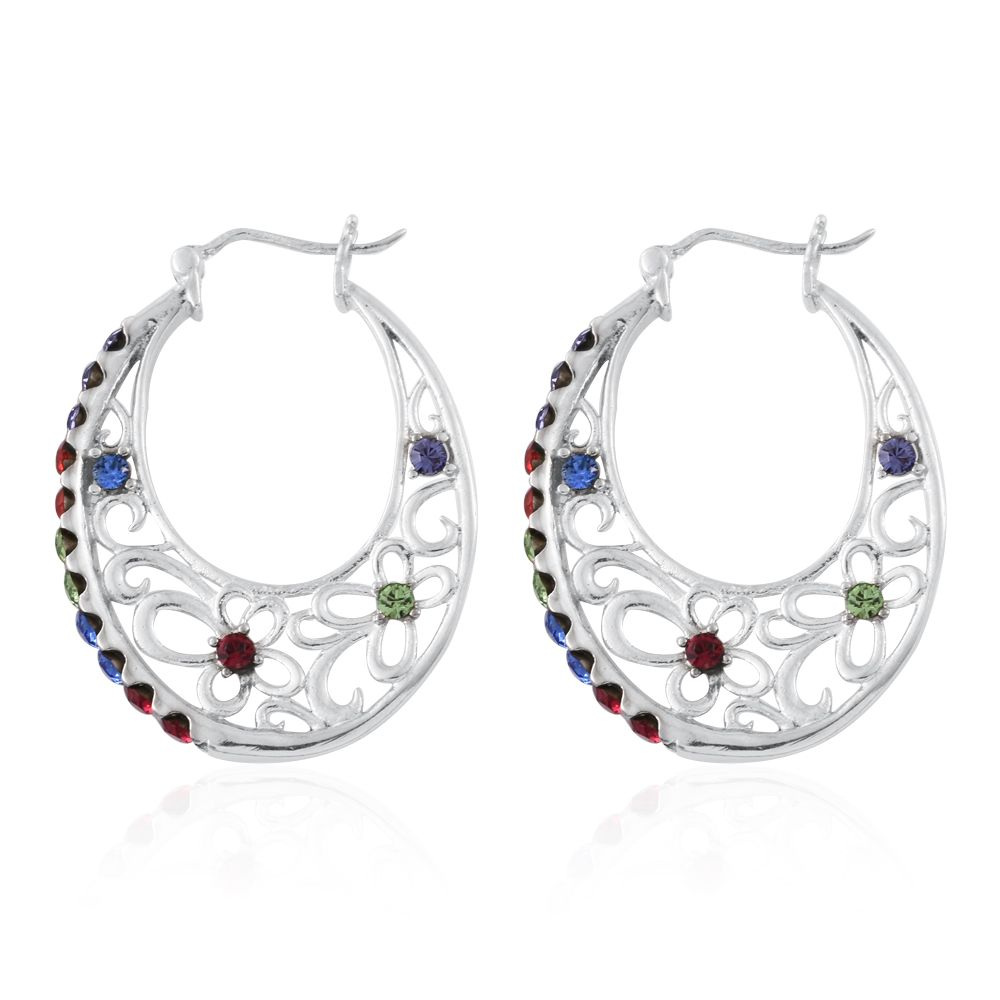 Tlv stainless steel hoop earrings made with swarovski for Swarovski jewelry online store