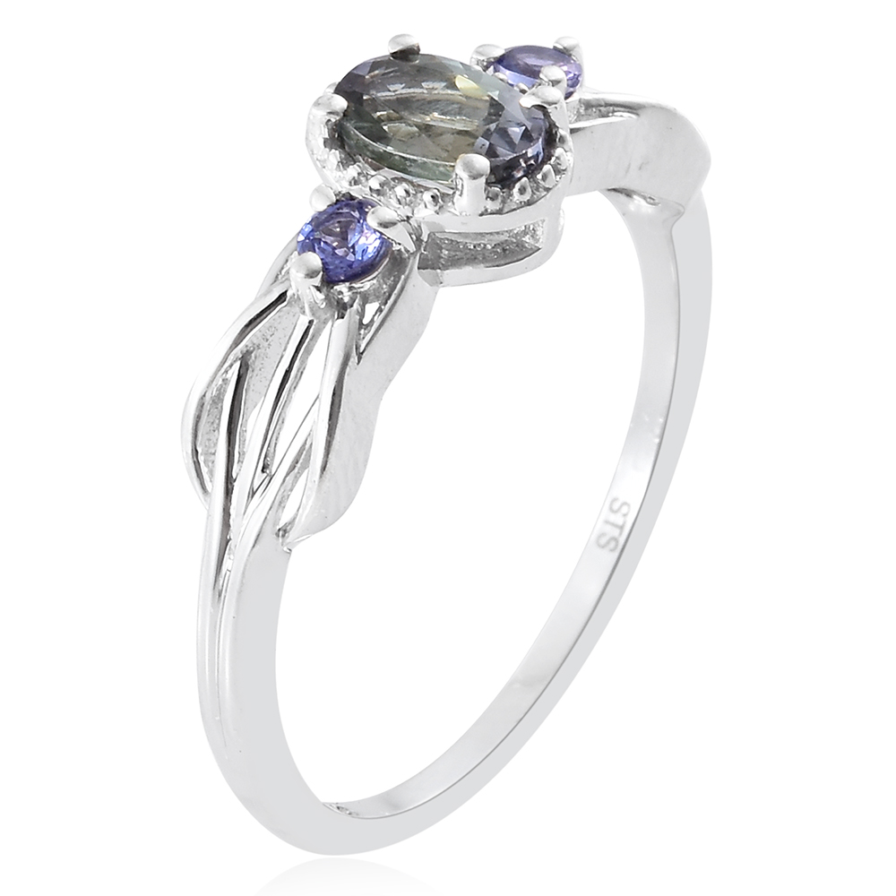 ebay gold ct aaa itm solitaire white ring tanzanite peacock