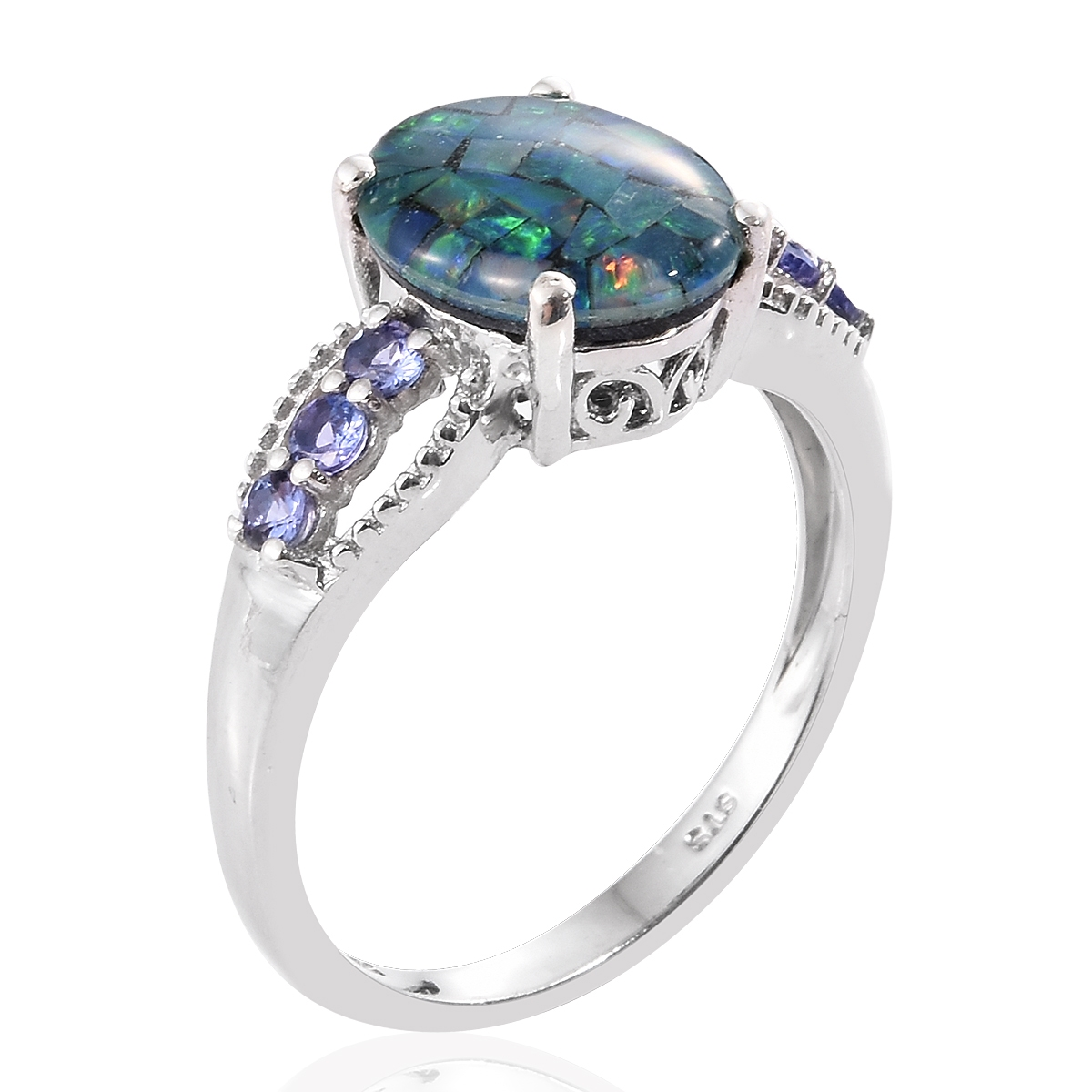 TGW 3.05 cts. Australian Mosaic Opal Platinum over Sterling Silv Ring Size 7