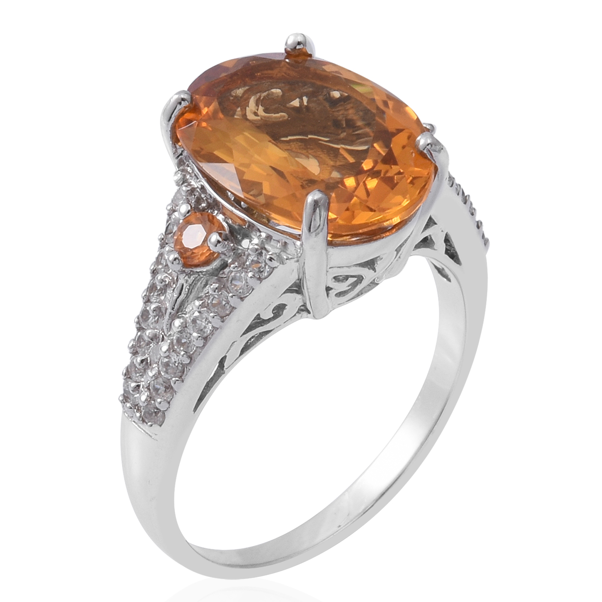 Brazilian Citrine, Multi Gemstone Platinum Over Sterling Silver Ring (Size 8.0) TGW 9.55 cts.