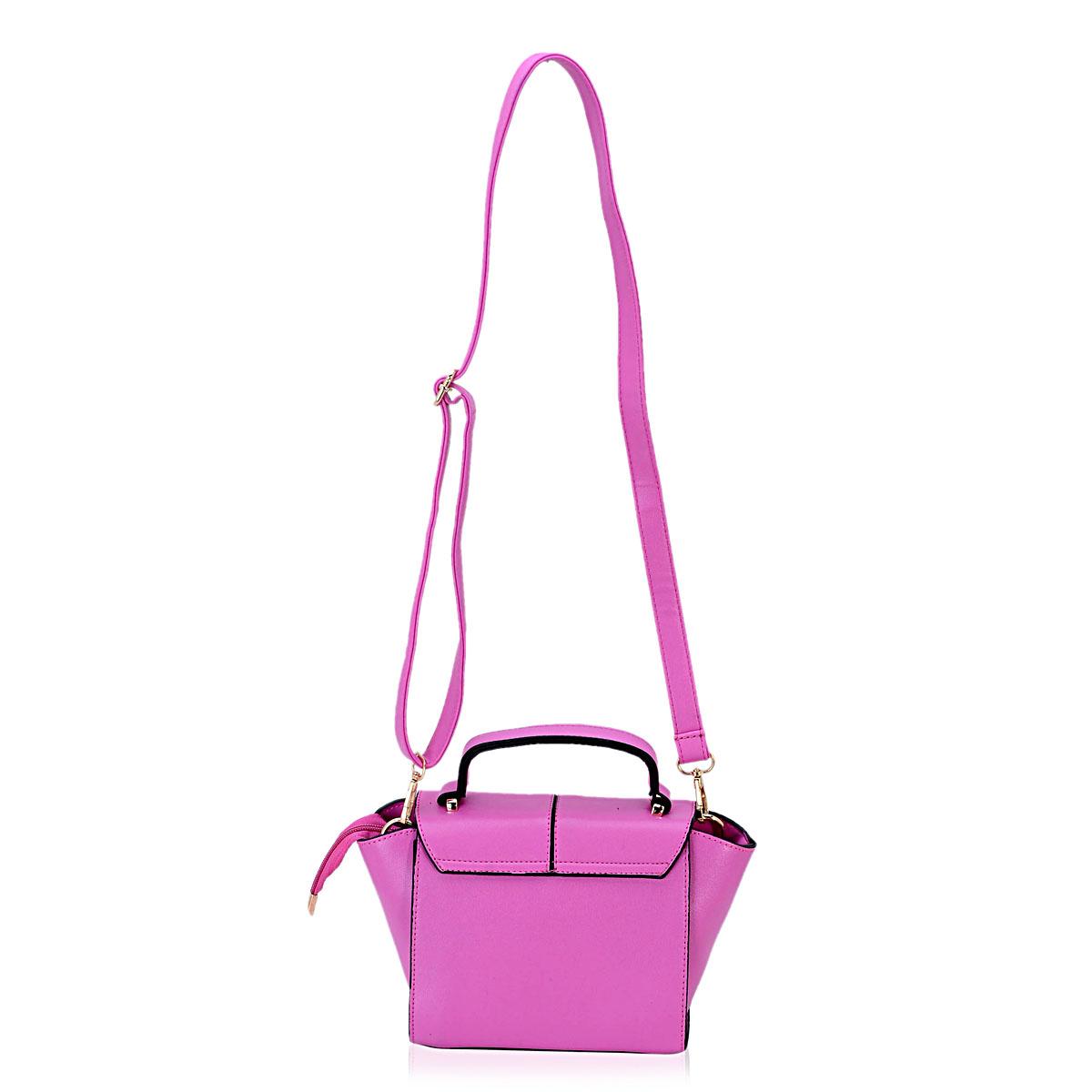 J Francis - Fuchsia Faux Leather Crossbody Bag (7x4x7 in)