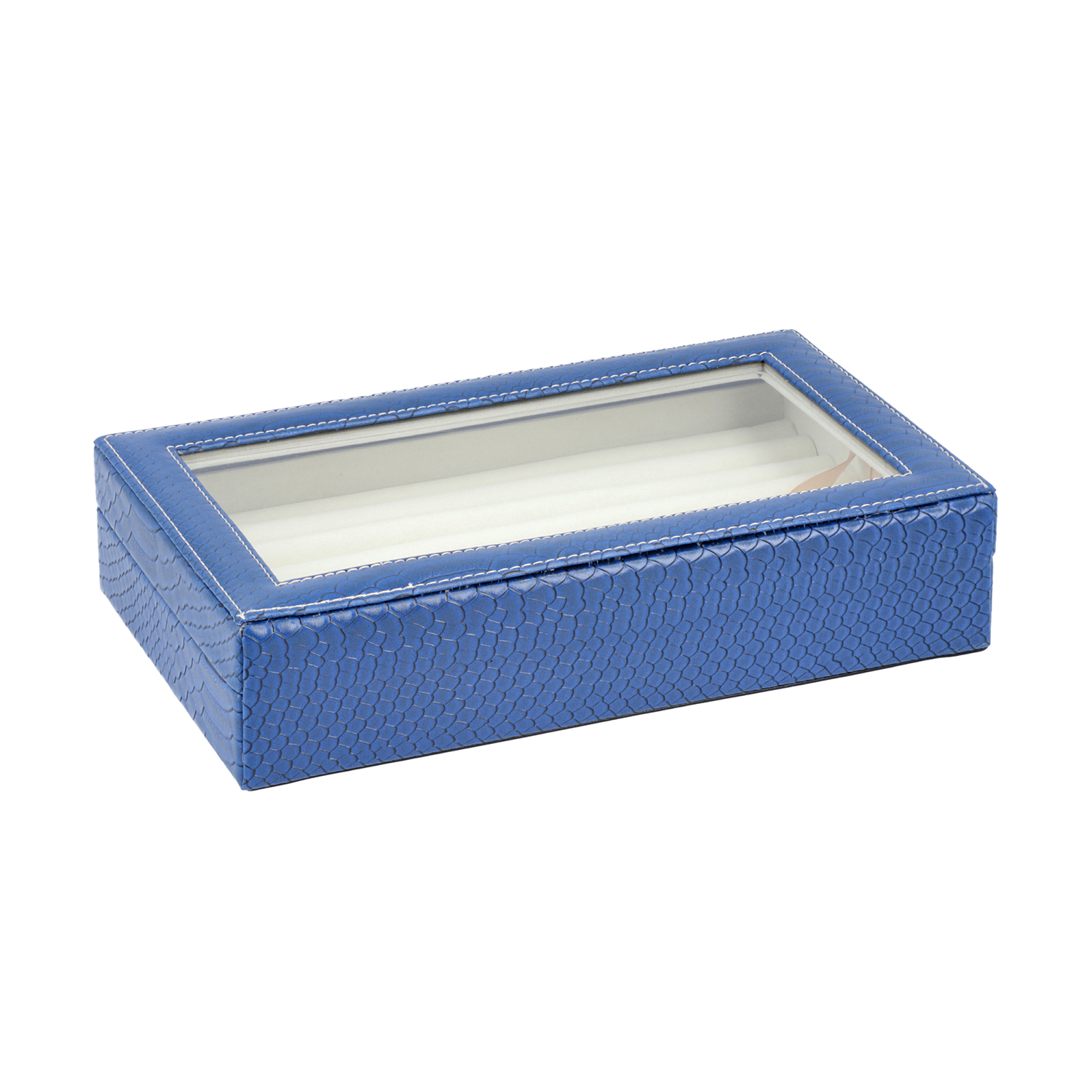 TLV Blue Faux Leather Dragon Skin Pattern Jewelry Box With Anti ...