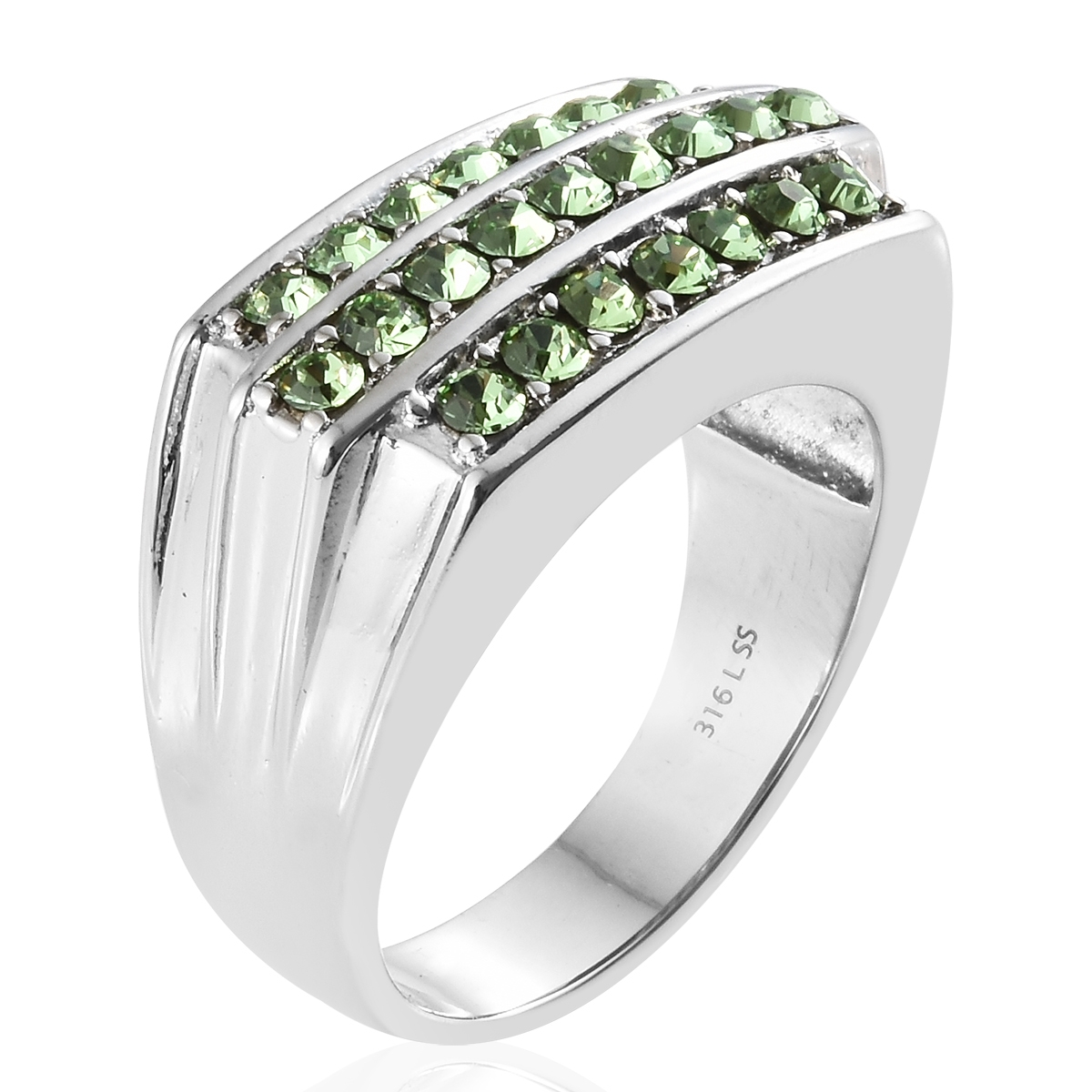 e33102b6e98d ... Stainless Steel Men s Ring (Size 12.0) Made with SWAROVSKI Peridot  Crystal ...