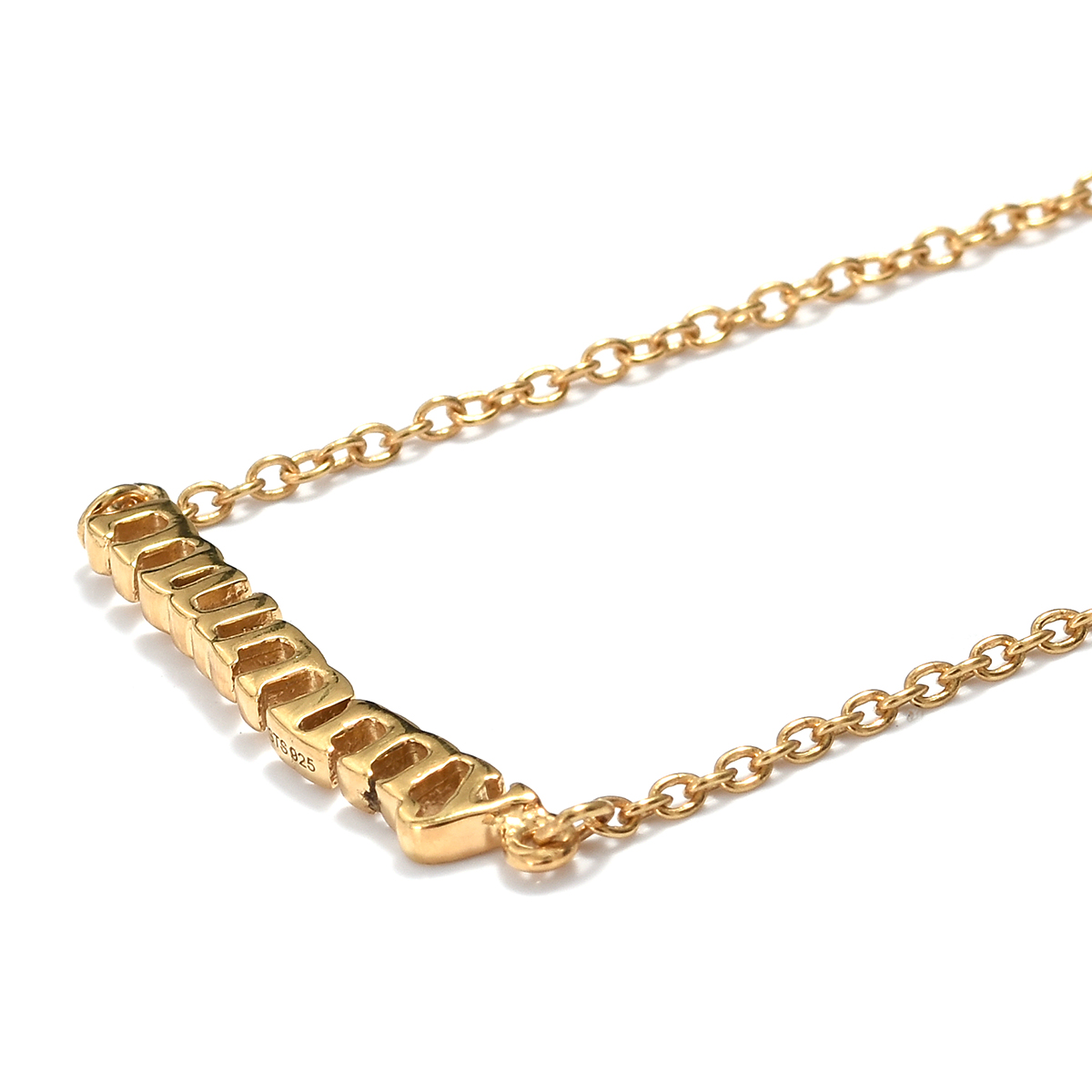 14K-Meghan-Markle-Yellow-Gold-Platinum-Over-Sterling-Silver-MUMMY-Chain-Necklace thumbnail 18