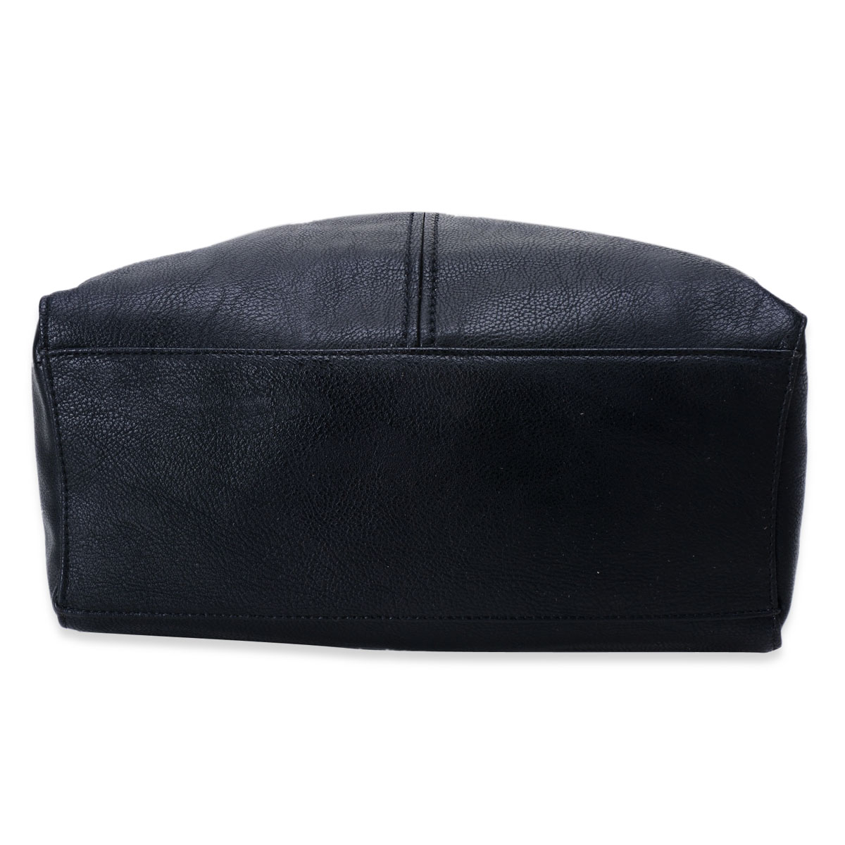 Black Faux Leather Shoulder Bag (12x5x12 in)