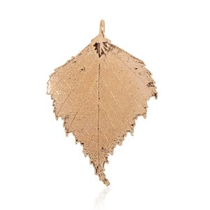 Nature's D'Or Birch Leaf Dipped in 24K YG Pendant without Chain