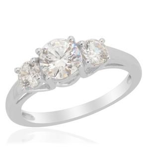 J Francis - Platinum Over Sterling Silver Trilogy Ring Made with SWAROVSKI ZIRCONIA (Size 10.0) TGW 2.40 cts.