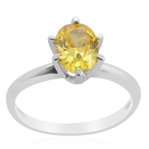 Simulated Yellow Diamond Sterling Silver Solitaire Ring (Size 7.0) TGW 1.50 cts.