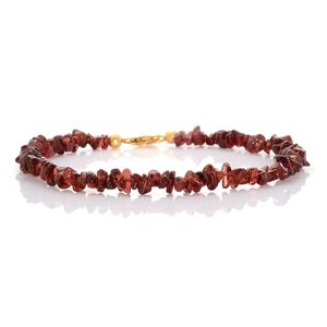 Carnelian Bead Platinum Over Sterling Silver Anklet (10.5 in) TGW 60.000 cts.