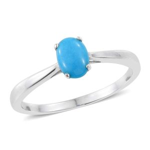 Arizona Sleeping Beauty Turquoise Platinum Over Sterling Silver Solitaire Ring (Size 9.0) TGW 0.70 cts.