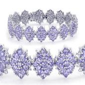 Tanzanite Platinum Over Sterling Silver Bracelet (7.50 In) (Returnable) TGW 18.090 cts.