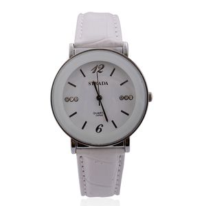 STRADA Austrian Crystal Japanese Movement White Watch with White Band and Stainless Steel Back