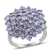 Tanzanite Platinum Over Sterling Silver Cluster Ring (Size 9.0) TGW 6.300 cts.