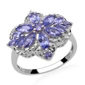 Tanzanite (Mrq), Diamond Ring in Platinum Overlay Sterling Silver (Size 8) TDiaWt 0.03 Cts, TGW 2.71 Cts.
