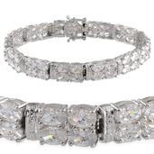 J Francis - Platinum Over Sterling Silver Bracelet Made with SWAROVSKI ZIRCONIA (7.50 In) TGW 34.060 cts.