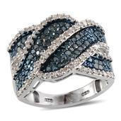 Blue Diamond (IR), Diamond Platinum Over Sterling Silver Ring (Size 8.0) TDiaWt 1.00 cts, TGW 1.000 cts.