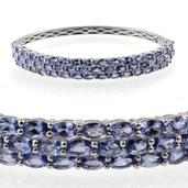 Tanzanite Platinum Over Sterling Silver Bangle (7.5 in) TGW 14.20 Cts.