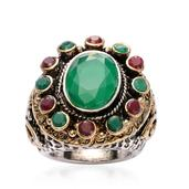 Red and Green Chroma Silvertone and Goldtone Ring (Size 8.0)