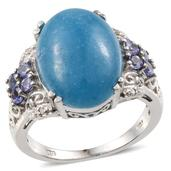 Blue Jade, Tanzanite, Diamond Platinum Over Sterling Silver Ring (Size 7.0) TGW 12.33 cts.