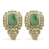 Utah Variscite, Hebei Peridot 14K YG and Platinum Over Sterling Silver J-Hoop Earrings TGW 16.450 cts.