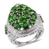 Russian Diopside, Diamond 14K YG and Platinum Over Sterling Silver Ring (Size 7.0) TDiaWt 0.02 cts, TGW 5.860 cts.