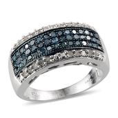 Blue Diamond (IR), Diamond Platinum Over Sterling Silver Ring (Size 9.0) TDiaWt 0.99 cts, TGW 0.990 cts.