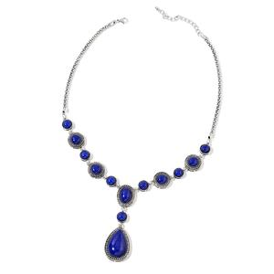 Blue Howlite Silvertone Necklace (22-24 in) TGW 88.00 cts.