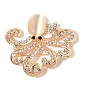 Creature Couture - Black and White Austrian Crystal, Simulated Cats Eye Goldtone Octopus Brooch