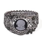 Cameo, Gray Austrian Crystal Dark Silvertone Bangle (7.5 in)