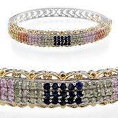 Multi Sapphire 14K YG and Platinum Over Sterling Silver Bangle (7.5 in) TGW 4.41 cts.