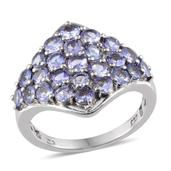 Tanzanite Platinum Over Sterling Silver Ring (Size 8.0) TGW 3.250 cts.
