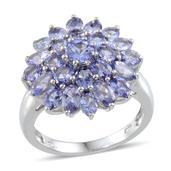 Tanzanite Platinum Over Sterling Silver Ring (Size 7.0) TGW 5.524 cts.