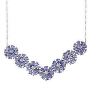 Tanzanite, Diamond Platinum Over Sterling Silver Necklace (20 in) TDiaWt 0.03 cts, TGW 11.780 cts.