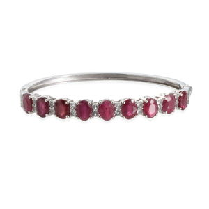 Niassa Ruby, White Topaz Platinum Over Sterling Silver Bangle (7.5 in) TGW 17.200 cts.