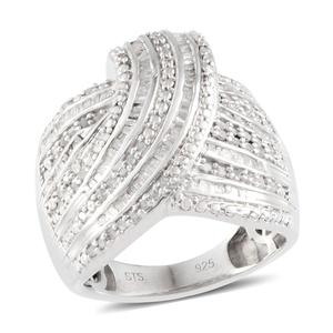Diamond Platinum Over Sterling Silver Ring (Size 9.0) , TDiaWt 1.02 cts, TGW 1.020 cts.