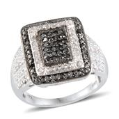 Black Diamond, Diamond Platinum Over Sterling Silver Ring (Size 7.0) TDiaWt 0.50 cts, TGW 0.500 cts.