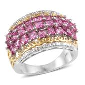 Ouro Fino Rubellite, Diamond 14K YG and Platinum Over Sterling Silver Ring (Size 9) TDiaWt 0.03 cts, TGW 2.645 cts.